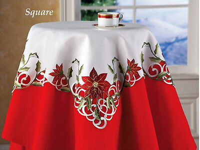Red Poinsettia Silky White Lacy Embroidered Christmas Decor Tablecloth Topper