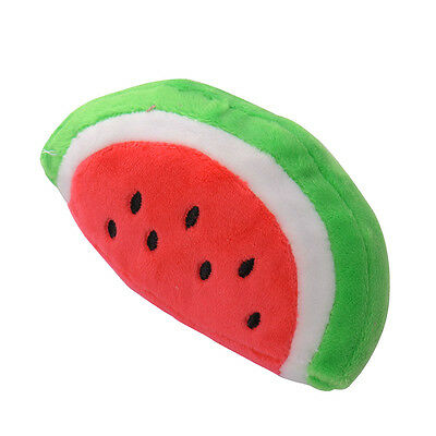 Cute Small Dog Puppy Pet Fetch Chew Play Squeaky Sound Plush Watermelon Toys