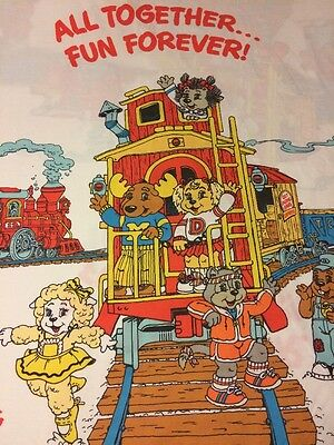 Get Along Gang Vtg 80's Waterbed Super Single Sheet Set Clubhouse Caboose Craft