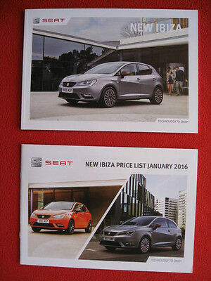 New 2016 SEAT Ibiza 61 Page Sales Brochure + 17 Page Price List.