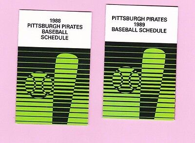 Nice Vintage 1988 1989 Pittsburgh Pirates Schedule Set - Coors