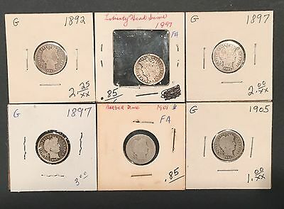 Barber Dime - Lot Of 6 - 1892 to 1905