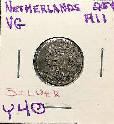 Netherlands - 25 Cents 1911 - Silver - MB6