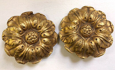 Antique French Gilded Solid Brass Picture Hook Covers
