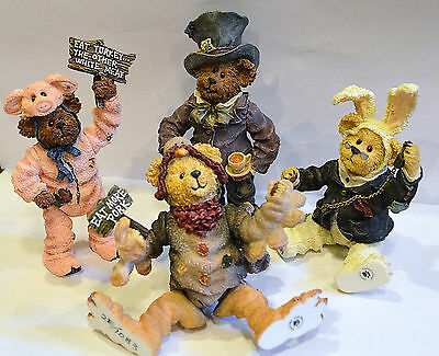 Shoebox Boyds Bears - Lot Of 4 - Rabbit, Turkey, Mad Hatter, Pig
