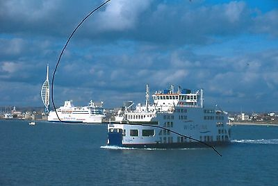 Original Ship/shipping Colour Slide Of,brittany Ferry Leaving Portsmouth+Iow One