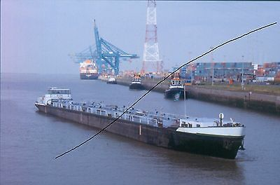 Original Ship/shipping Colour Slide Of A Long Coaster/freighter+Tugs+Container V