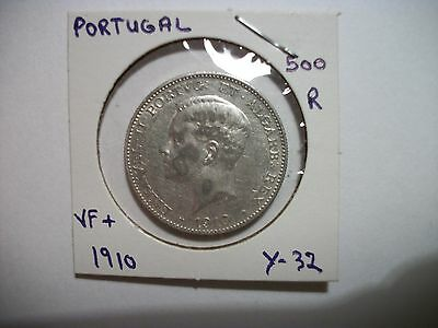 Portugal 1910 500 Reis Silver foreign coin