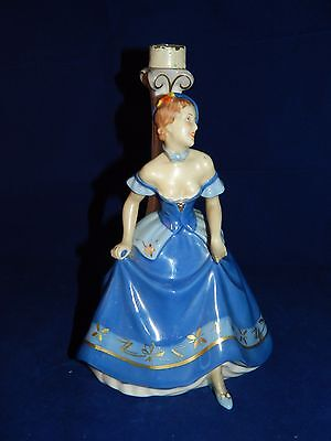 Antique Royal Dux lamp base figurine of lady with 1930s Art Deco