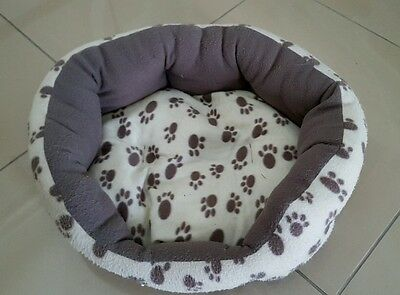Dunelm Cream and Brown Paw Print Cat Bed *Good Used Condition*