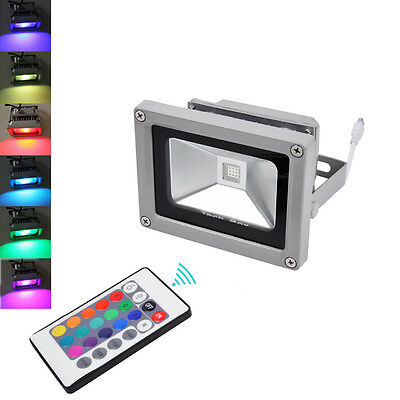 10W RGB LED Dimmable Flood Light Waterproof Spotlight + IR Remote Control IP65