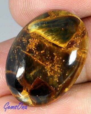 25.65Cts. NATURAL GOLDEN PLAYED PIETERSITE OVAL CABCOHON LOOSE GEMSTONE
