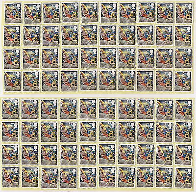 GB 100 2nd CLASS STAMPS £55 FACE VALUE UNFRANKED OFF PAPER WITH PARTIAL GUM..