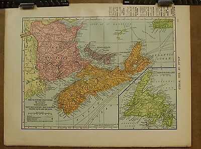 Antique 1905 New Brunswick Nova Scotia Maritime + Canada Map Chromolithograph