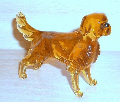 "Hand Blown ""murano"" Glass Collectable  Golden Retrirver Dog Figurine"