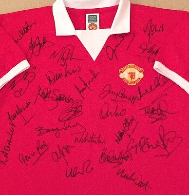 Manchester United Fc Retro Number 7 Home Shirt Signed By 27 Legends