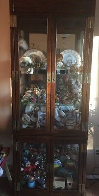 2-piece Wooden Cabinet Display Case With Glass Sides And Glass Doors.