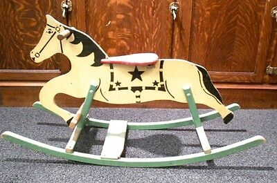 Happy Land Playthings Child's Vintage Wooden Rocking Horse 1940s 1950s 40s 50s