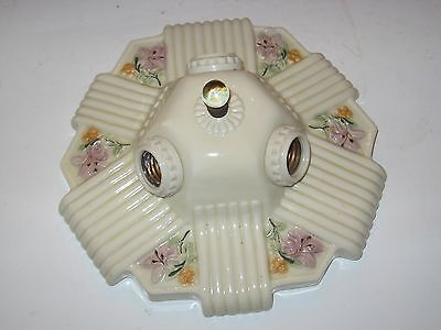 Antique Vintage Porcelain Ceramic 3 Bulb Ceiling Light Fixture Art Deco Floral
