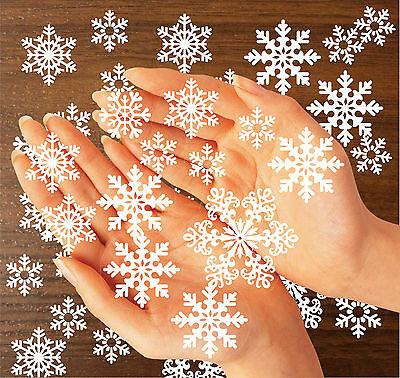 64 Christmas Snowflakes Stickers Window Decorations Winter Self cling REUSABLE
