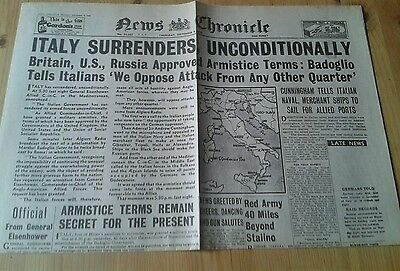 News Chronicle Newspaper-WW2- Sept 9th 1943- Italy Surrenders Unconditionally.