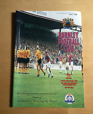 BURNLEY v HULL CITY : Longside Terrace Closure Commemorative programme 16/9/1995