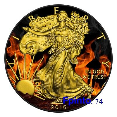 2016 1oz .999 Burning Eagle Black Ruthenium & Gold Gilded (Mint Condition)