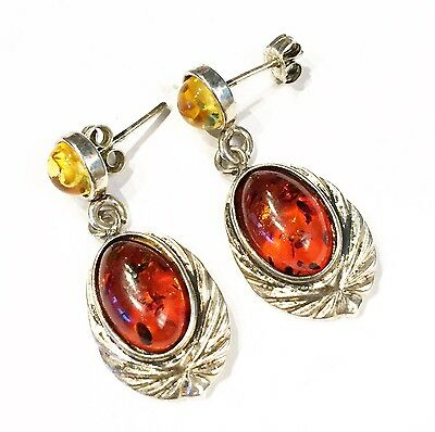 Vintage BALTIC AMBER / Wax-Cast Sterling Silver Post Earrings
