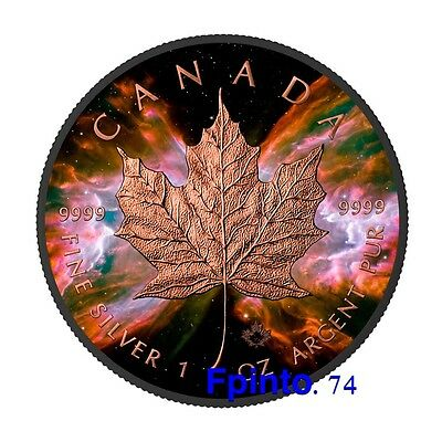 2016 1oz .999 Silver Maple Butterfly Nebula Black Ruthenium and Rose Gold
