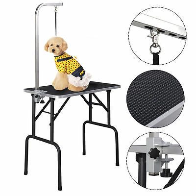 32 Adjustable Pet Dog Cat Grooming Table Top Foam W/Arm&Noose Rubber Mat