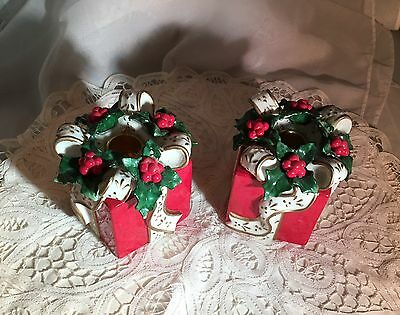 Pair Of Ceramic Holiday/Christmas Taper Candle Holders