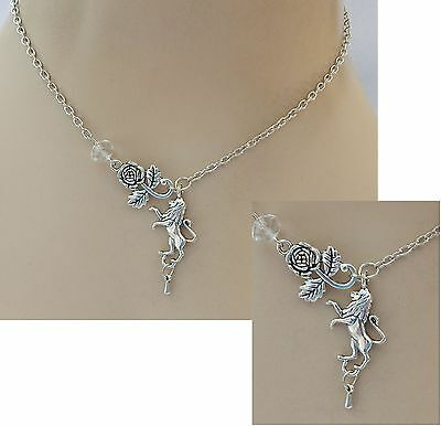 Rampant Lion & Rose Pendant Necklace Handmade NEW Accessories Adjustable Silver