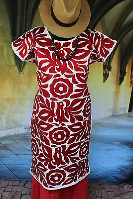 Red & White Hand Embroidered Huipil Dress Jalapa Mexico Boho Santa Fe Cowgirl
