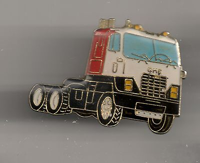 Vintage Red White and Black GMC Semi Tractor Rig old enamel pin