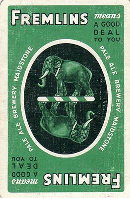 "RARE VINTAGE ""Fremlins (Green Card) British Brewery"" SINGLE Playing Card"