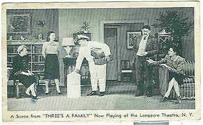pc6024 postcard Longaire Theatre New York Three's a Family Postally used 1943