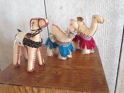 Vintage Faux Leather Camel Figurines (3) - hand stitched