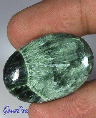 40.70Cts NATURAL WONDERFUL QUALITY GREEN SERAPHINITE OVAL CAB GEMSTONE 2950