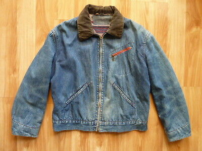 VTG 1950s MONTGOMERY WARD FADED DENIM BLANKET LINED CHORE WORK JACKET - SIZE M