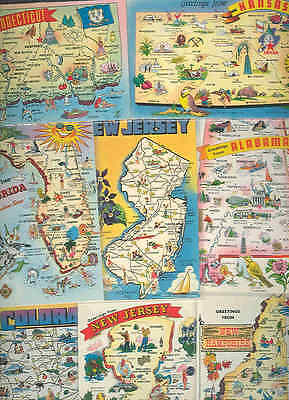 pc6263 postcard Maps 1 used 1959 7 not used EIGHT
