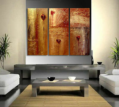 Three Pc Modern Abstract Huge Wall Decor Oil Painting On Canvas No Framed