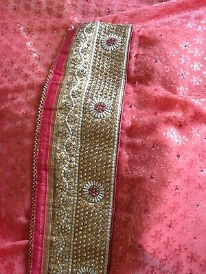 Designer Indian Pakistani Pink Gold Saree With Blouse Brand New Style