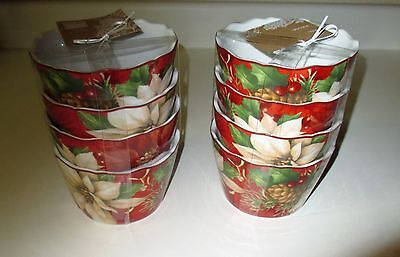 222 Fifth Poinsettia Holly 8 Dessert Appetizer Bowls NWT