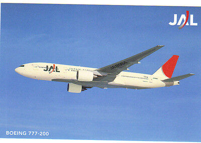 Japan Airlines (JAL) Boeing 777 promotional postcard (new and issued by JAL)