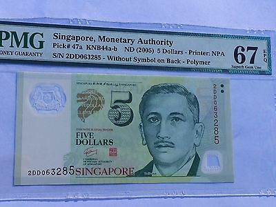 Singapore, ND(2005) 5 Dollars P47a PMG 67 EPQ   NR