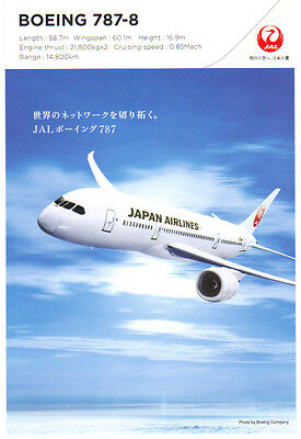 Japan Airlines (JAL) Boeing 787-8 promotional postcard (new and issued by JAL)