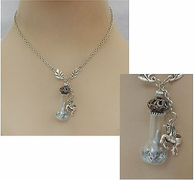 Unicorn Horn in Glass Vial Pendant Necklace Jewelry Handmade NEW Chain Silver