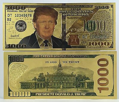 Donald Trump $1000 Gold Plated 24k Banknote/Dollar Bill