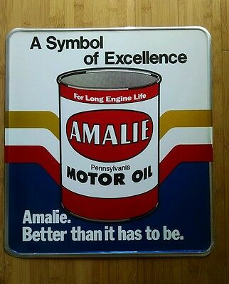 NOS VINTAGE AMALIE MOTOR OIL METAL SIGN from old gas service station dealership.