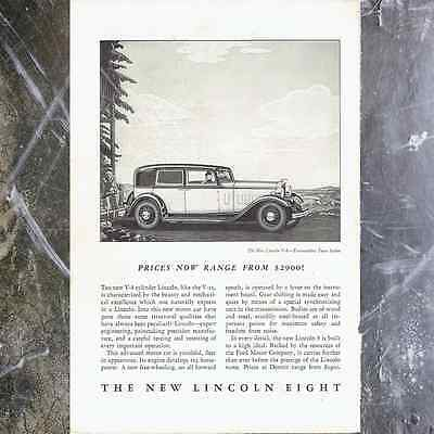 Vintage '32 Lincoln V8 Original Print Ad, 30's Antique Car Paper Automobilia